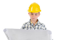 Little smiling builder in helmet Stock Photo