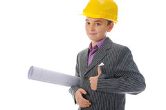 Little smiling builder in helmet Stock Images