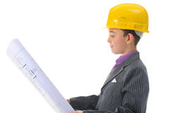 Little smiling builder in helmet Royalty Free Stock Photo