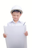 Little smiling builder in helmet. Stock Image