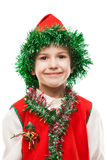 Little smiling child boy in gnome or elf costume. Little cheerful smiling child boy in Santa helper gnome or elf costume white isolated Royalty Free Stock Photography