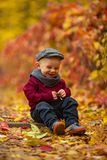 Little smiling child boy sits in park and holds yellow leaf in h royalty free stock images