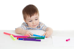 Little smiling child with color felt pen Stock Photo