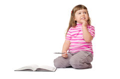 Little smiling girl with book Royalty Free Stock Photo