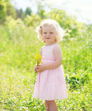 Little smiling girl child with flowers in spring. Field Stock Photos