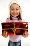 Little smiling girl with gift Royalty Free Stock Image