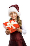 Little smiling girl with a gift Royalty Free Stock Photos