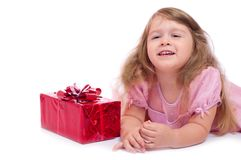 Little smiling girl with gift box Royalty Free Stock Images