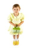 Little smiling girl with green Stock Image