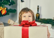 Little smiling girl hiding behind a big gift box. Cheerful cute little child girl with present. Kid holds a gift box near Christmas tree indoors Royalty Free Stock Images