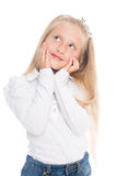 Little smiling girl looking up. Little smiling girl looking up to six years Royalty Free Stock Photo