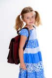 Little smiling girl with old satchel Royalty Free Stock Photography