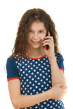 Little smiling girl with phone Royalty Free Stock Images