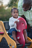 Little Smiling Girl Playing with Dad Royalty Free Stock Photo