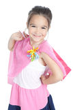 Little smiling girl with shopping bags over white Royalty Free Stock Photography