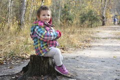 Little smiling girl sitting on a tree stump near the trail in au Stock Photography