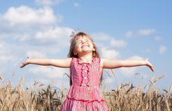 Little smiling girl on summer in the field. With open arms Royalty Free Stock Images