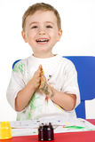 Little  smiling paintress Stock Photography