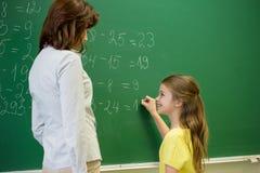 Little smiling schoolgirl writing on chalk board Stock Image