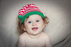 6577d7a20e4 Little Smily Baby Boy In Elf Hat Stock Image - Image of year ...