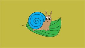 Little snail sitting on green leaf. Stock Photos