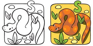 Little snake coloring book. Alphabet S Stock Image