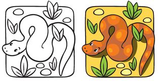 Little snake coloring book. Royalty Free Stock Image
