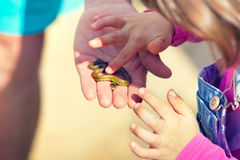 Little snake in hand Royalty Free Stock Images