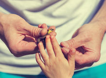Little snake in male hands Royalty Free Stock Photography