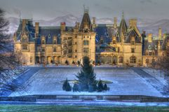 A Little Snow At Biltmore and Blue Ridge Mountains Royalty Free Stock Image