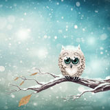 Little snow owl stock illustration