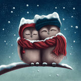 Little snow owls royalty free illustration