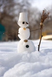 Little snowman with broom Stock Images