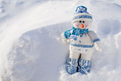 Little snowman with carrot nose. Royalty Free Stock Image