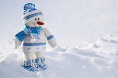 Little snowman with carrot nose. Royalty Free Stock Images