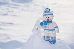 Little snowman with carrot nose. Stock Images