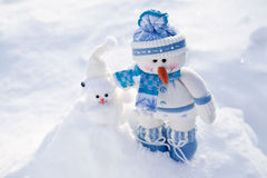 Little snowman with carrot. Royalty Free Stock Photos