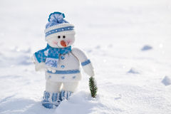 Little snowman with carrot nose. Stock Photos