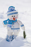 Little snowman with carrot nose. Royalty Free Stock Photo