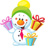 Little snowman with gift Stock Photos