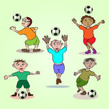 Little soccer. Illustration of little child playing football Stock Images