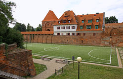 Little soccer field in Torun old town, Poland Stock Photo