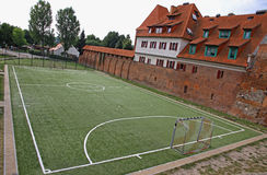 Little soccer field in Torun old town, Poland Royalty Free Stock Images