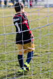 Little soccer goalkeeper with gloves Royalty Free Stock Photos