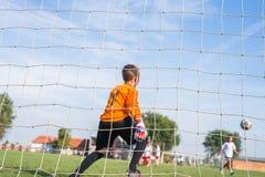 Little soccer goalkeeper Royalty Free Stock Photo