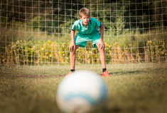 Little soccer goalkeeper Royalty Free Stock Photography