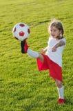 Little soccer player stock image