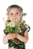 Little soldier with the flowers Stock Image