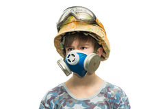 Little soldier with respirator Stock Photography