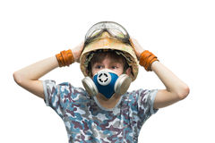 Little soldier with respirator Stock Photo